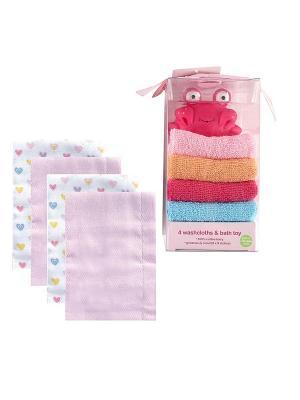 Комплект Многоразовые подгузники, 4 шт., + Подарочный набор Игрушка и салфетки для купания, 5 пр., Luvable Friends. Цвет: розовый