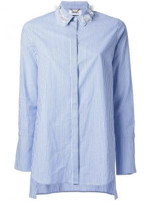 Полосатая рубашка с декорированным воротником Muveil. Цвет: синий