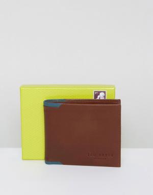 Ted Baker Кожаный кошелек двойного сложения. Цвет: рыжий