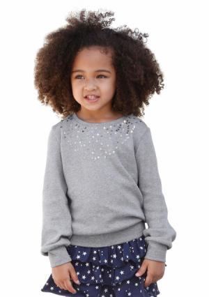 Кофточка с длинными рукавами KIDOKI. Цвет: белый, серый меланжевый, темно-синий