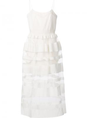 Платье с оборками на юбке Jonathan Cohen. Цвет: белый