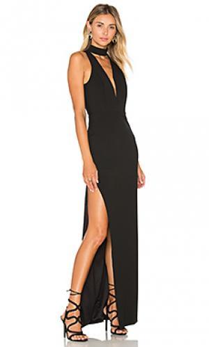 Вечернее платье на бретельках с глубоким вырезом Michelle Mason. Цвет: черный