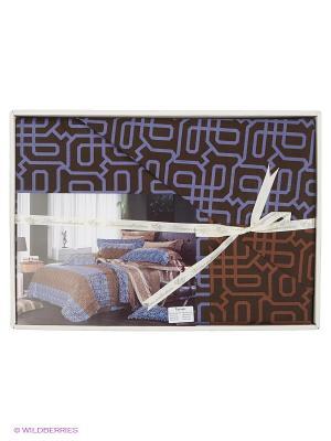 Комплект постельного белья Кэлвен Sofi de Marko. Цвет: коричневый, синий
