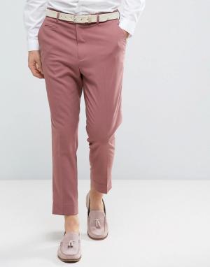 ASOS Зауженные строгие брюки. Цвет: розовый