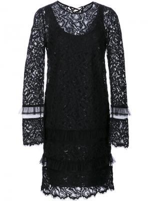Кружевное платье с длинными рукавами Maiyet. Цвет: чёрный