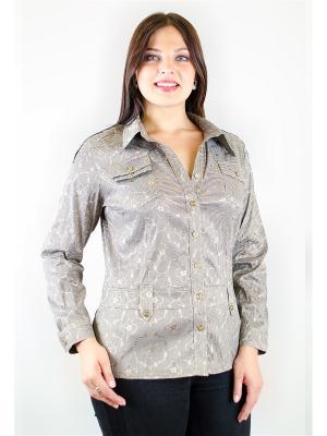 Блузка Aldani. Цвет: темно-коричневый, бежевый