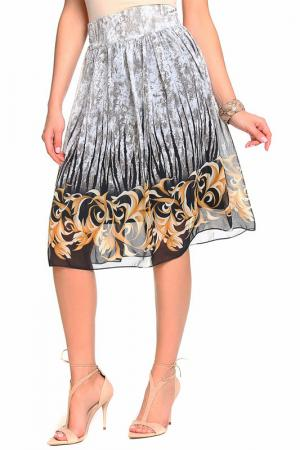 Юбка миди с принтом Alina Assi. Цвет: серый, золотой