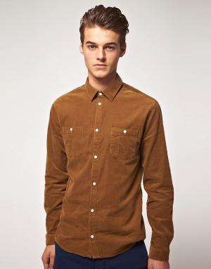 Suit Вельветовая рубашка с двумя карманами. Цвет: коричневый