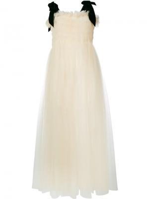 Платье из тюля Molly Goddard. Цвет: телесный