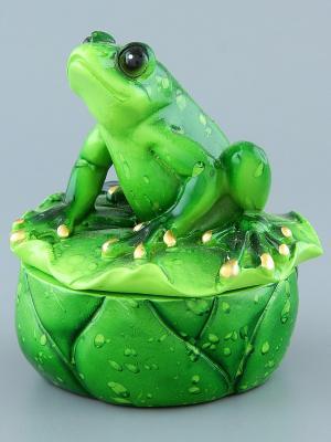 Шкатулка Лягушка на лотосе Elan Gallery. Цвет: зеленый