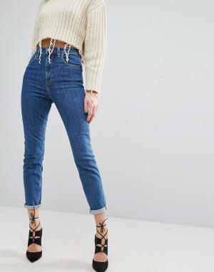 ASOS Синие джинсы слим в винтажном стиле с завышенной талией FARLEIGH. Цвет: синий