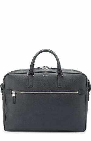 Кожаная сумка для ноутбука Serapian. Цвет: темно-синий