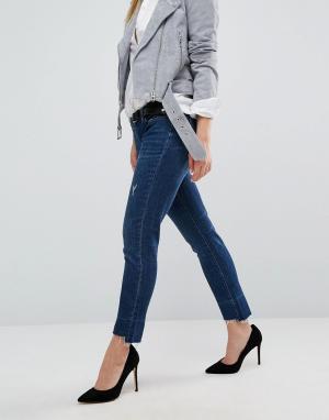 BLANK NYC Рваные джинсы бойфренда. Цвет: синий