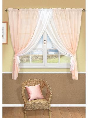 Комплект штор Aquarelle-S 2шторы 358*160 см Kauffort. Цвет: персиковый, белый, бледно-розовый