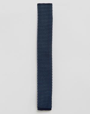 Gianni Feraud Темно-синий вязаный галстук с узором птичий глаз. Цвет: темно-синий