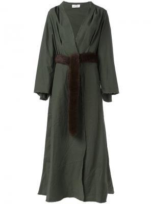 Длинное пальто-кимоно Attico. Цвет: зелёный