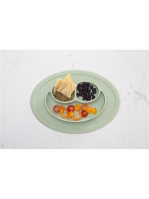 Тарелка с подставкой Ezpz Mini Mat Sage. Цвет: оливковый