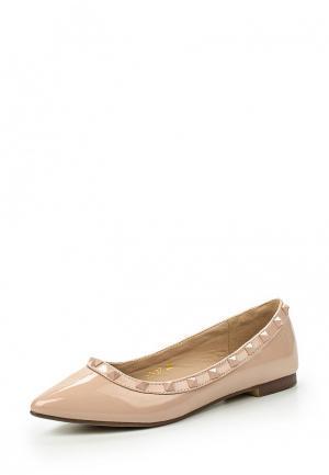 Балетки WS Shoes. Цвет: бежевый