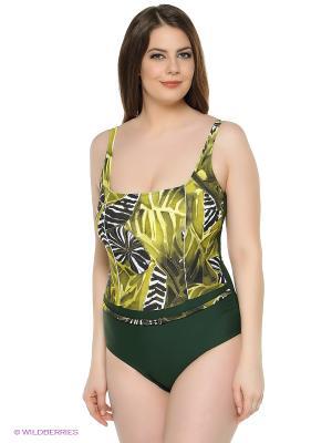 Слитный купальник FIANETA. Цвет: зеленый