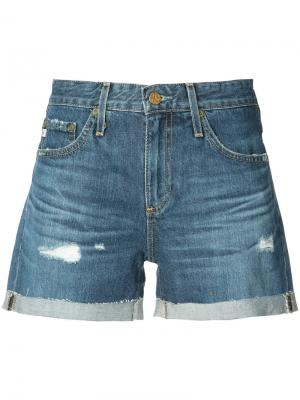 Потертые джинсовые шорты Ag Jeans. Цвет: синий