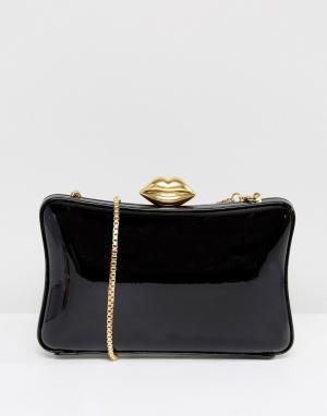 Lulu Guinness Черно-золотой лакированный клатч в форме коробочки. Цвет: черный