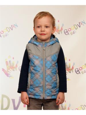 Жилет для мальчика Ждан GooDvinKids. Цвет: темно-синий, бежевый, серый