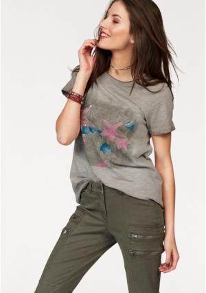 Футболка Aniston. Цвет: серо-коричневый/цвет мальвы/синий