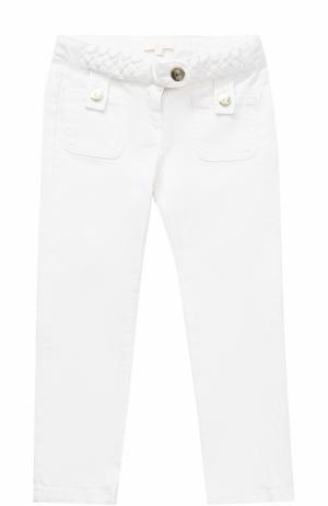 Джинсы с плетеными вставками и накладными карманами Chloé. Цвет: белый