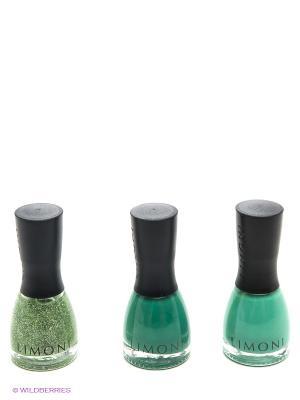 Набор лаков для ногтей №008  Holiday, тон 723+724+725 Limoni. Цвет: зеленый