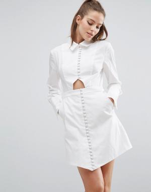 C/meo Collective Платье-рубашка с длинными рукавами Let It Go. Цвет: белый