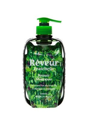 Reveur fraicheur  repair живой бессиликоновый шампунь для восстановления поврежденных волос 340 мл. Цвет: зеленый