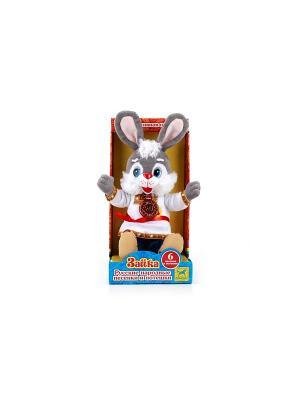 Мягкая игрушка  заяц в русской одежде Мульти-пульти. Цвет: серый, белый