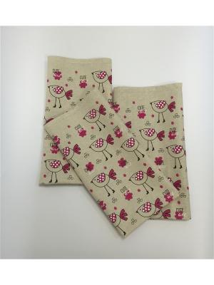 Набор-полотенец, 3 шт A and C Collection. Цвет: бежевый, розовый, белый