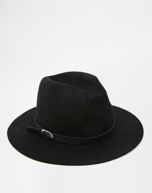 7X Черная фетровая шляпа. Цвет: черный