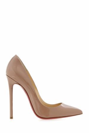 Туфли из лакированной кожи Pigalle 120 Christian Louboutin. Цвет: бежевый