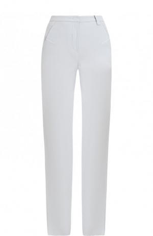 Однотонные шерстяные брюки прямого кроя Giorgio Armani. Цвет: голубой