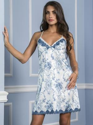 Сорочка MIA-MELLA. Цвет: белый, синий