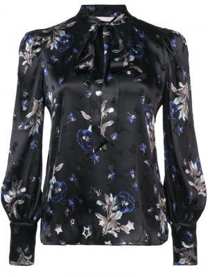 Блузка с цветочной вышивкой Rebecca Taylor. Цвет: чёрный