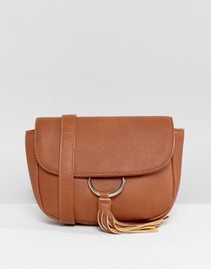 Yoki Fashion Сумка-кошелек на пояс с кисточками и металлической отделкой. Цвет: рыжий