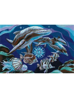 Дельфины набор для вышивания 42х27 см NITEX. Цвет: синий, серый