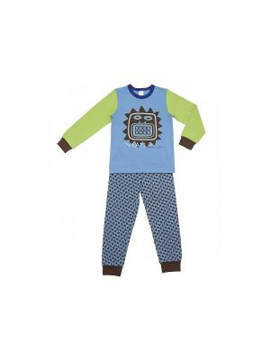 Пижама Модамини. Цвет: синий, салатовый, коричневый