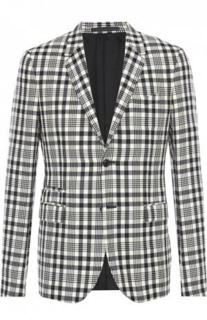 Шерстяной приталенный пиджак в клетку Valentino. Цвет: черно-белый