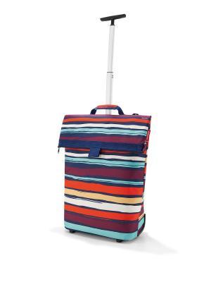 Сумка-тележка Trolley M artist stripes Reisenthel. Цвет: синий, сливовый, оранжевый