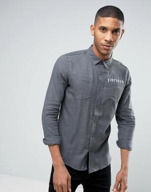 Firetrap Фланелевая рубашка с начесом. Цвет: черный