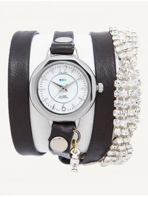 Часы La Mer Collections Crystal Del Mar Mississippi Silver Vintage Bracelet. Цвет: черный