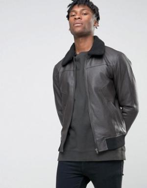 BL7CK Куртка из искусственной кожи с искусственным воротником. Цвет: черный