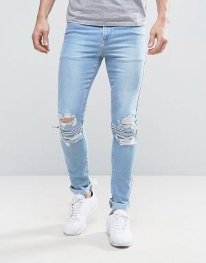 ASOS Голубые суперузкие джинсы с рваной отделкой и молниями на коленях. Цвет: синий