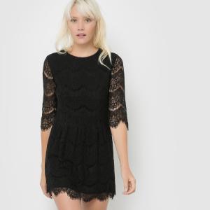 Платье из кружева с рукавами 3/4 CERISE SUNCOO. Цвет: черный