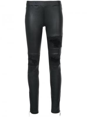 Кожаные брюки с рваной отделкой Thomas Wylde. Цвет: чёрный