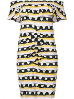Платье с узором и открытыми плечами Nicole Miller. Цвет: жёлтый и оранжевый